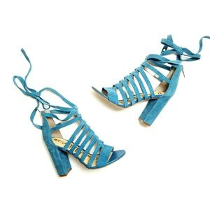 Sam Edelman Teal Suede Lace Up Chunky Heel Sandal